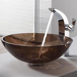 KRAUS Glass Vessel Sink in Brown with Illusio Faucet in Chrome