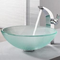 KRAUS Frosted Glass Vessel Sink in Clear with Illusio Faucet in Chrome