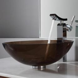 Kraus Clear Brown Glass Vessel Sink and Unicus Faucet Chrome