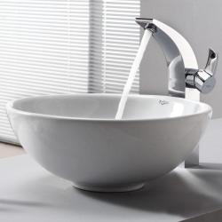 Kraus White Round Ceramic Sink and Illusio Faucet