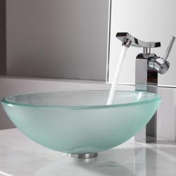 Kraus Frosted Glass Vessel Sink and Unicus Faucet