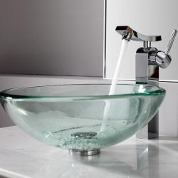 Kraus Clear 19mm thick Glass Vessel Sink and Unicus Faucet