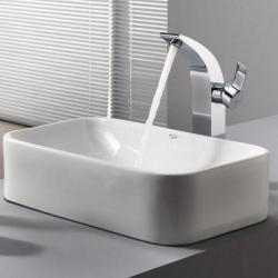 Kraus White Rectangular Ceramic Sink and Illusio Faucet