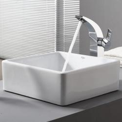 Kraus White Square Ceramic Sink and Illusio Faucet