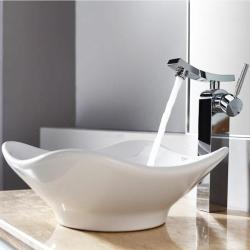 Kraus White Tulip Ceramic Sink and Unicus Faucet