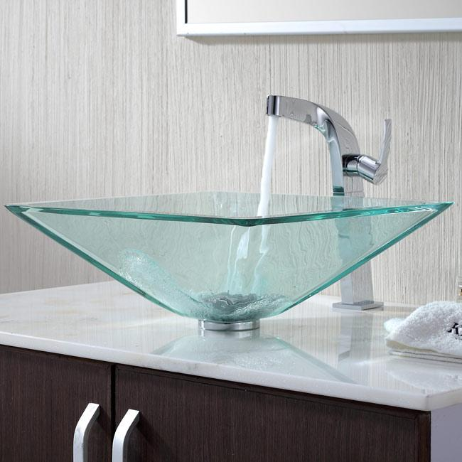 Shop Kraus Square Glass Vessel Sink In Clear With Typhon Faucet In