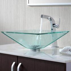 KRAUS Square Glass Vessel Sink in Clear with Typhon Faucet in Chrome