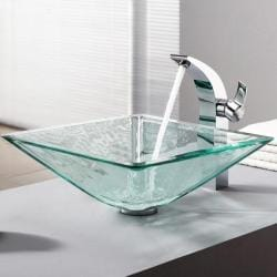 KRAUS Square Glass Vessel Sink in Clear with Illusio Faucet in Chrome