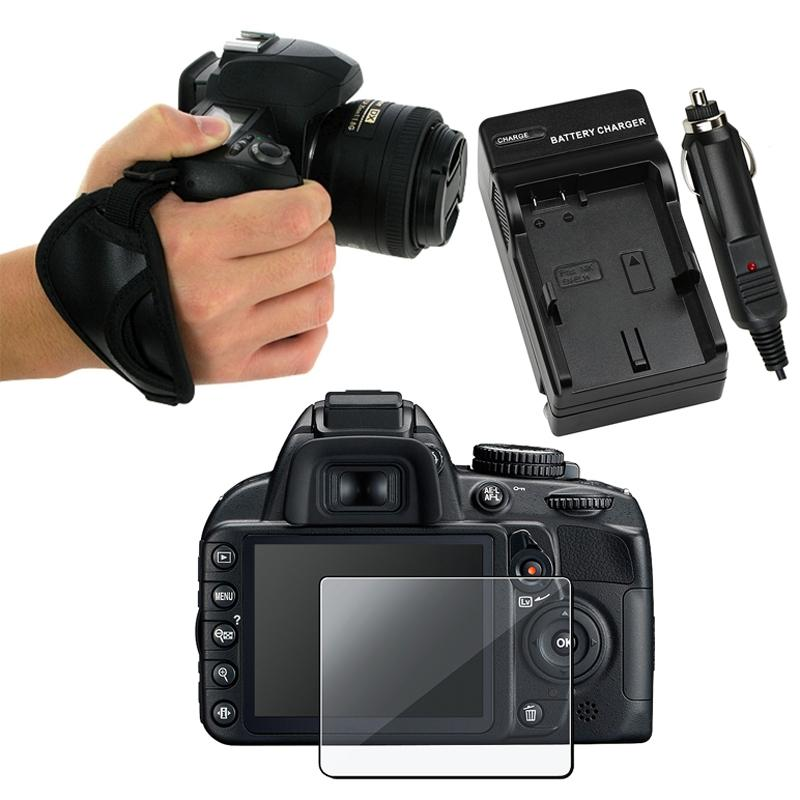Screen Protector/ Hand Strap/ Charger for Nikon D3100