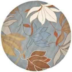 Safavieh Handmade Soho Lakeside Blue New Zealand Wool Rug (6' Round)