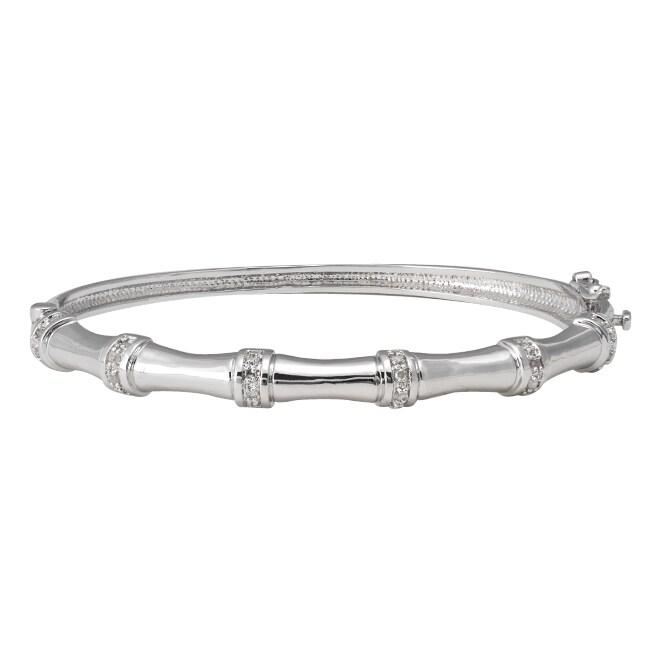 Sterling Silver 1/4ct TDW Diamond Bamboo Bangle Bracelet (J-K, I3)