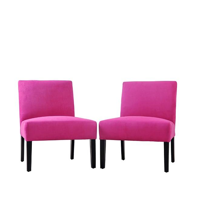 Portfolio Niles Magenta Microfiber Armless Chairs (Set of 2)