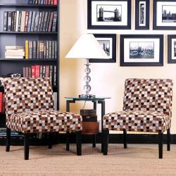 Portfolio Niles Brown Geometric Blocks Armless Chairs (Set of 2)