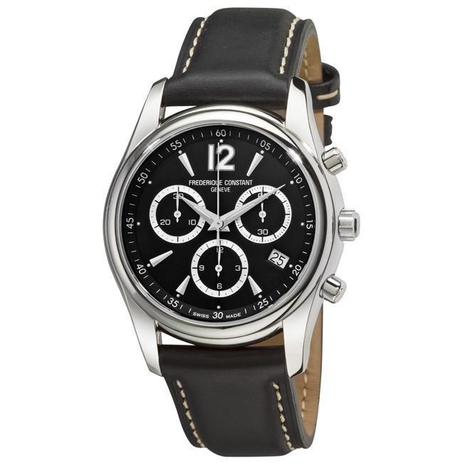 Frederique Constant Men's 'Junior Chronograph' Leather Strap Watch