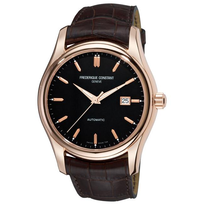 Frederique Constant Men's 'Clear Vision Automatic' Leather Strap Watch