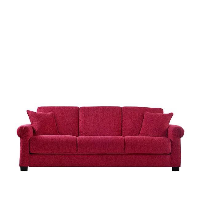 Portfolio Rio Convert A Couch Crimson Red Chenille Rolled