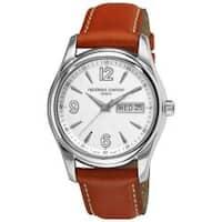 Frederique Constant Men's 'Junior-Quartz' Day Date Leather Strap Watch