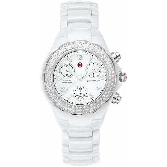 Michele Women's 'Tahitian' Diamond Bezel White Ceramic Watch