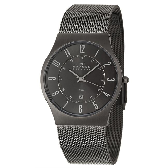 Skagen Men's 'Mesh' Grey Stainless Steel Quartz Date Watch