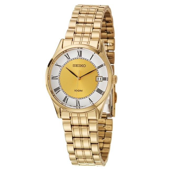 Seiko Men's 'Bracelet' Yellow Goldplated Stainless Steel Quartz Watch