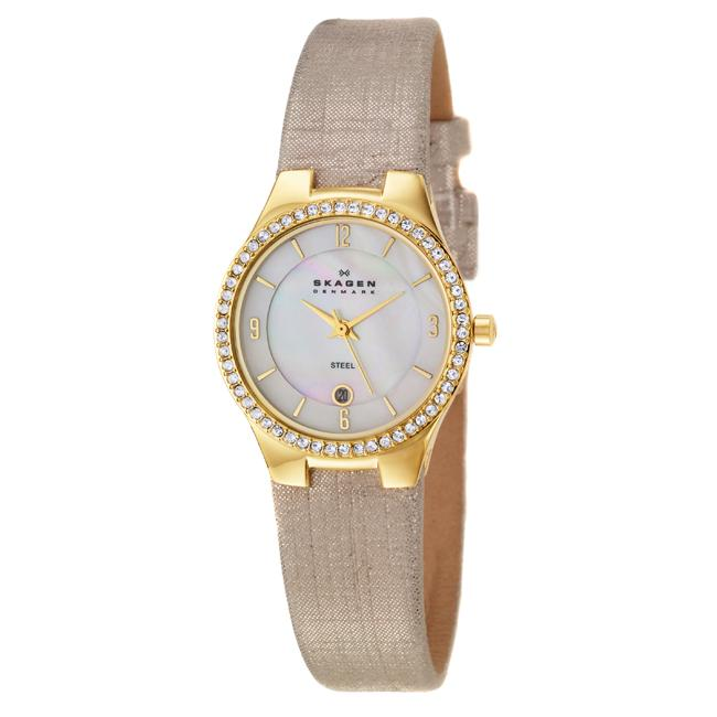 Skagen Women's 'Glitz' Yellow Goldplated Stainless Steel and Champagne Fabric  Crystals Qua