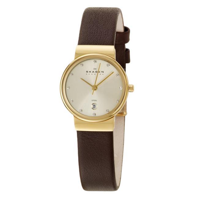Skagen Women's 'Modern' Goldplated Stainless Steel Leather Watch