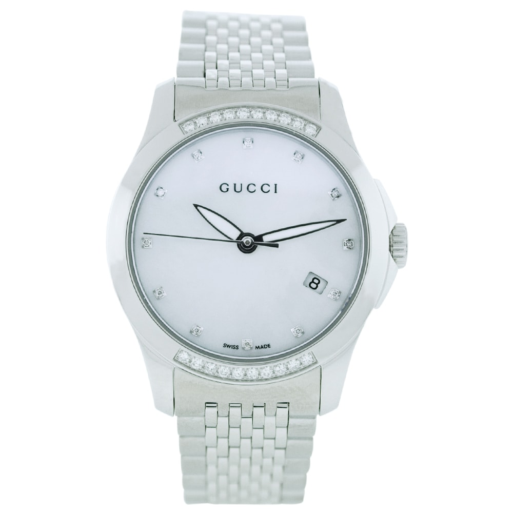 c7587951aaa Shop Gucci Women s  G-Timeless  Diamond Stainless Steel Watch - Mother of  Pearl - Free Shipping Today - Overstock - 6178291