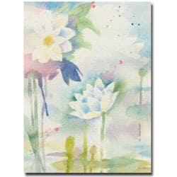 Sheila Golden 'White Lotus' Canvas Art