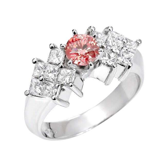 14k White Gold 1 1/3 ct TDW Pink Round and White Diamond Ring (I1, SI2)