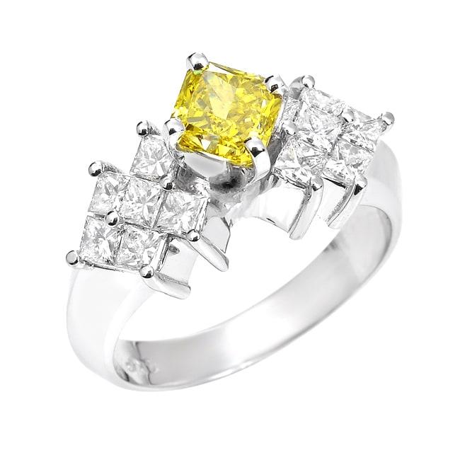 14k White Gold 1 3/4ct TDW Yellow and White Diamond Ring (SI2)