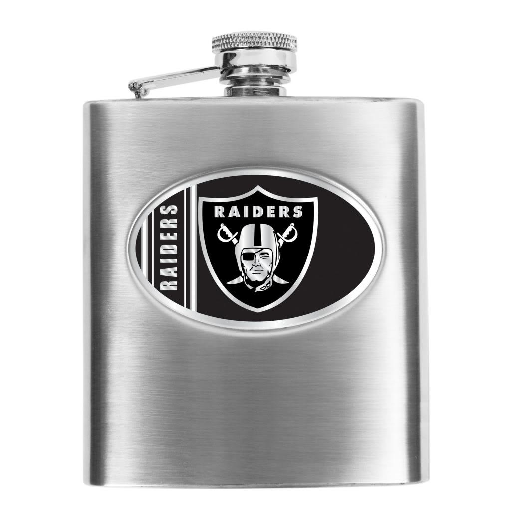 Oakland Raiders 8-oz Stainless Steel Hip Flask