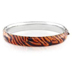 Miadora Sterling Silver Tiger Stripe Animal Bangle Bracelet