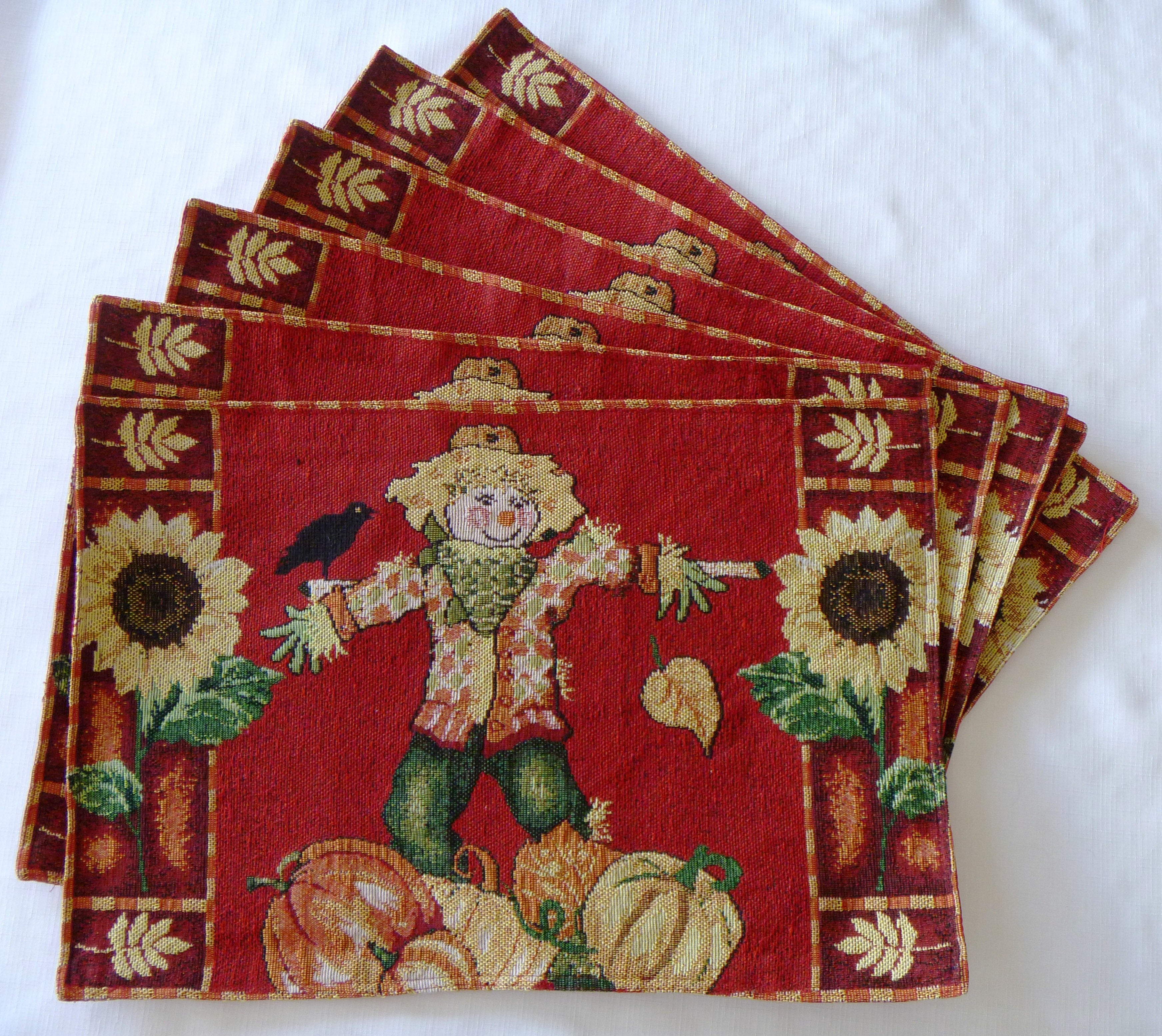 Tapestry Scarecrow Garden Place Mats (Set of 6)