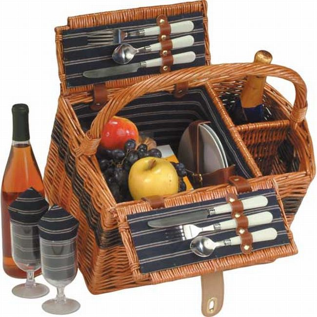 Picnic Plus PSB-272 Lenox Wicker Picnic Basket