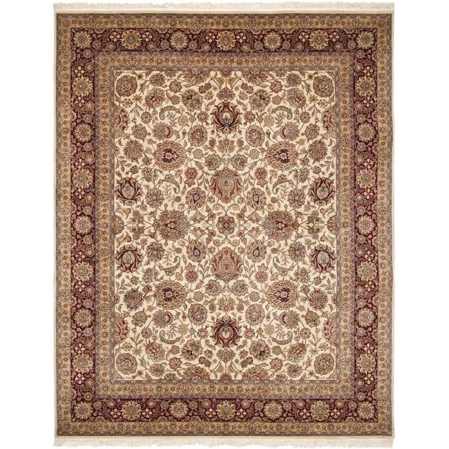 Asian Hand-knotted Royal Kerman Ivory and Red Wool Area Rug (5' x 7')