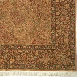 Asian Hand-knotted Royal Kerman Beige and Brown Wool Rug (5' x 7') - Thumbnail 1