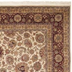 Asian Hand-knotted Royal Kerman Ivory and Red Wool Area Rug (5' x 7') - Thumbnail 1