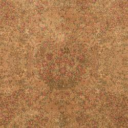 Asian Hand-knotted Royal Kerman Beige and Brown Wool Rug (5' x 7') - Thumbnail 2