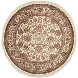 Asian Hand-Knotted Royal Kerman Ivory Wool Area Rug (8' Round)