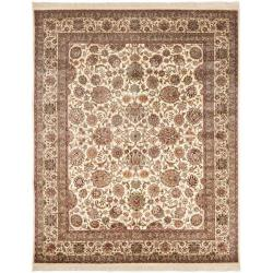 Asian Hand-Knotted Oriental Royal Kerman Ivory Wool Rug (10' x 14')