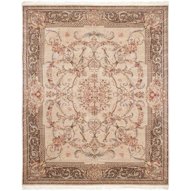 Asian Hand-knotted Royal Kerman Beige and Tan Wool Rug (5' x 7')