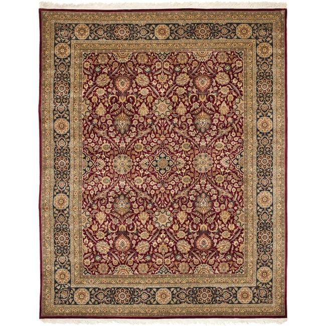 Asian Hand-knotted Royal Kerman Red and Blue Wool Rug (5' x 7')