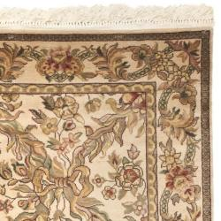 Asian Hand-Knotted Royal Kerman Ivory Pure Wool Rug (2'6 x 10')