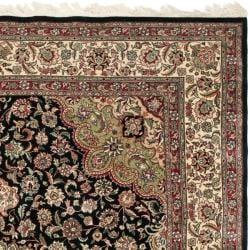 Asian Hand-knotted Royal Kerman Black and Ivory Wool Rug (10' x 14') - Thumbnail 1