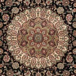 Asian Hand-knotted Royal Kerman Black and Ivory Wool Rug (10' x 14') - Thumbnail 2