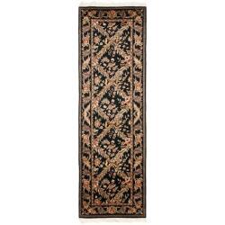 Asian Hand-knotted Royal Kerman Black Wool Rug (2'6 x 10')