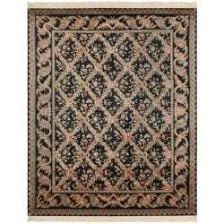 Asian Hand-knotted Royal Kerman Black Wool Rug (5' x 7')