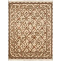 Asian Hand-Knotted Royal Kerman Ivory Pure Wool Rug (5' x 7')