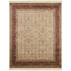 Asian Hand-knotted Royal Kerman Ivory and Red Wool Rug (5' x 7')