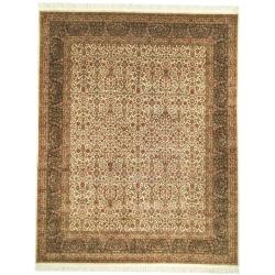 Asian Hand-knotted Royal Kerman Ivory and Green Wool Rug (5' x 7')